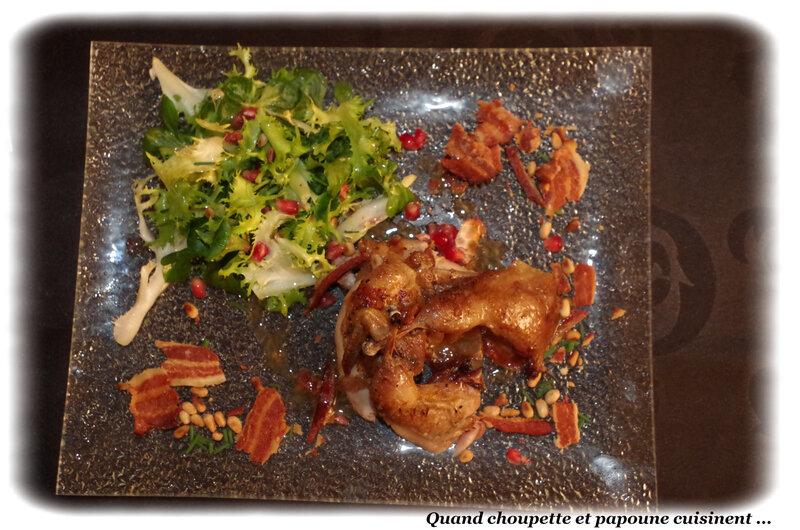 caille rôtie sur lit de salade et sa vinaigrette aux noix-7990