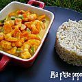 Crevettes au curry & petits légumes