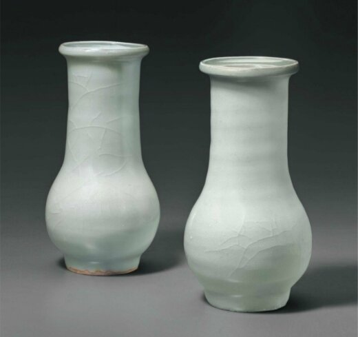Two Longquan celadon bottle vases, China, Southern Song Dynasty (1127-1279)