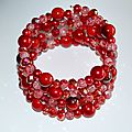 Bracelet 4 rangs rouge perles de verre et cristal