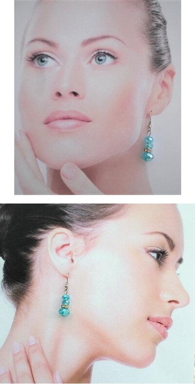Boucles d'Oreilles Asli 3 Perles Cristal Facetté Bleu Rondelle Strass Cristal Argent Du Tibet