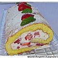 Biscuit roule aux fraises, chantilly legere