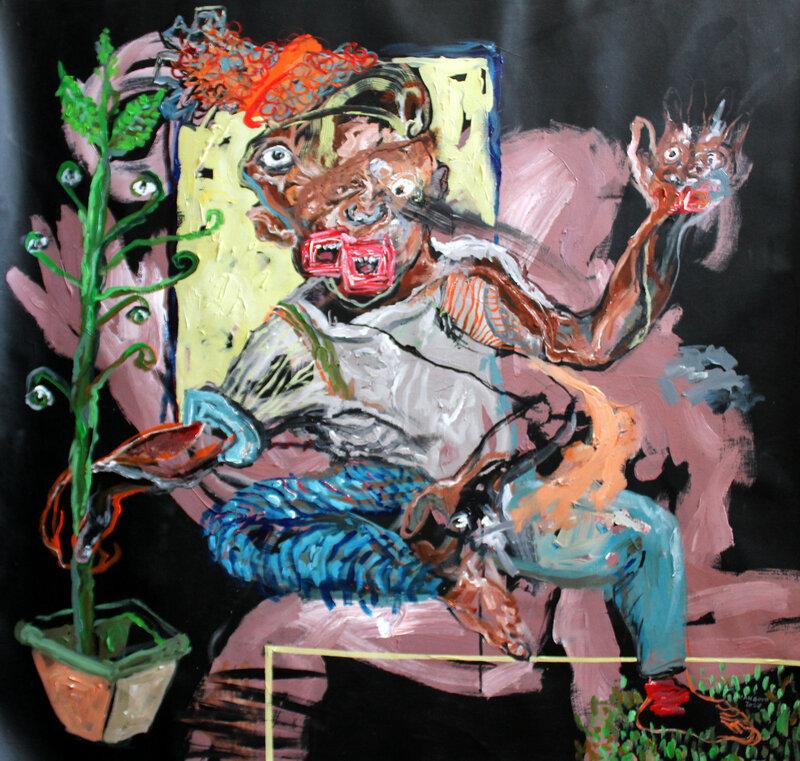 L'homme et la nature, acrilique sur toile, 100x100 cm, 2017