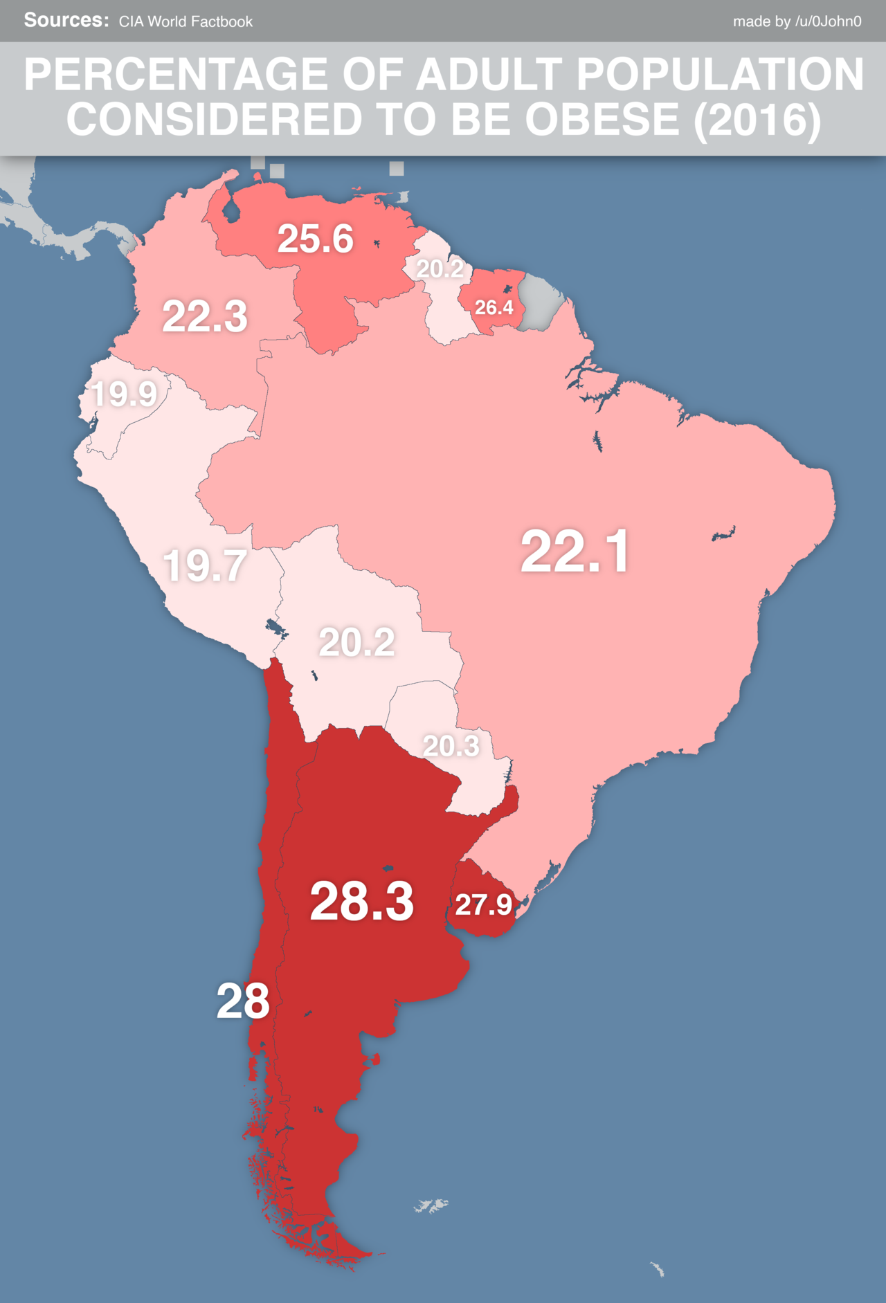 amerique du sud-Percentage of adult population considered to be obese in South America