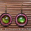 Boucles d'Oreilles Prunes et vertes