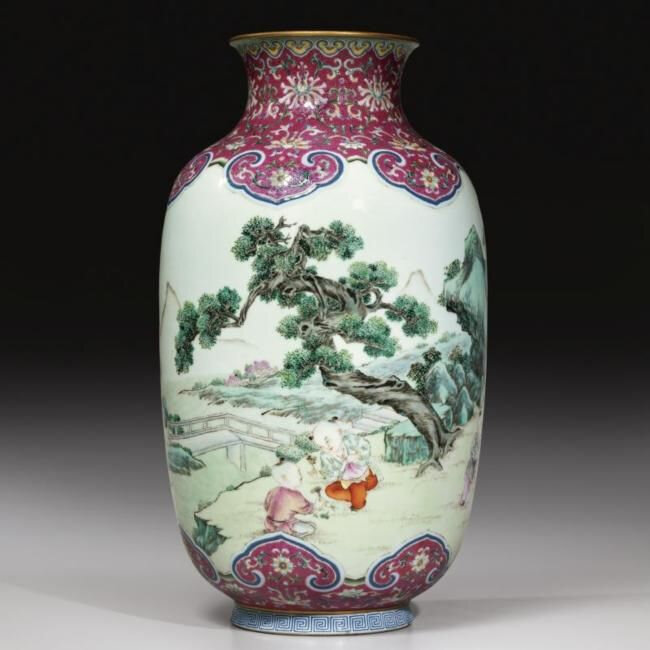 An impressive and rare 'famille-rose' 'Boys at play' lantern-shaped vase, Qianlong iron-red seal mark and period (1736-1795)
