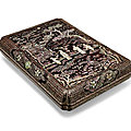 A ryukyuan mother-of-pearl-inlaid black lacquer large rectangular box and cover, 17th-18th century