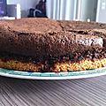 Gâteau chocolat avec fond noix de coco