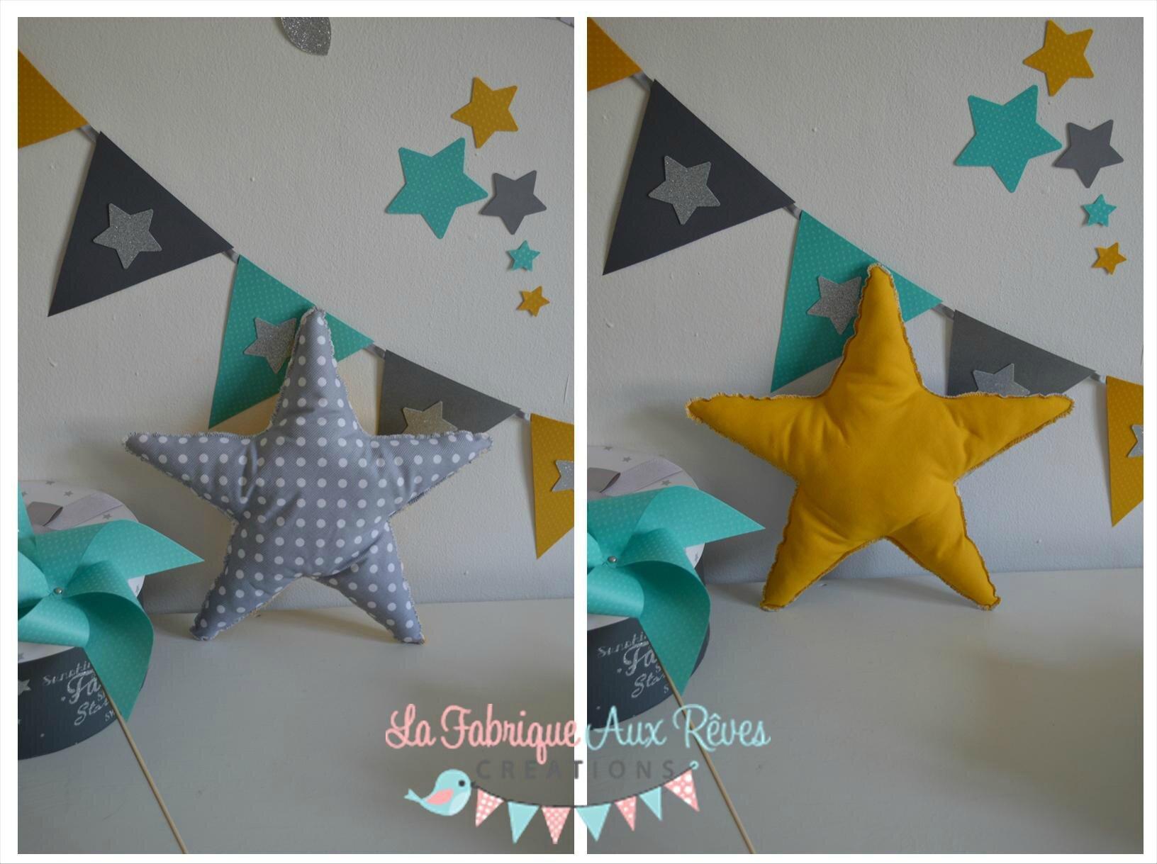 Deco Chambre Jaune Et Gris coussin étoile gris jane moutarde - décoration chambre