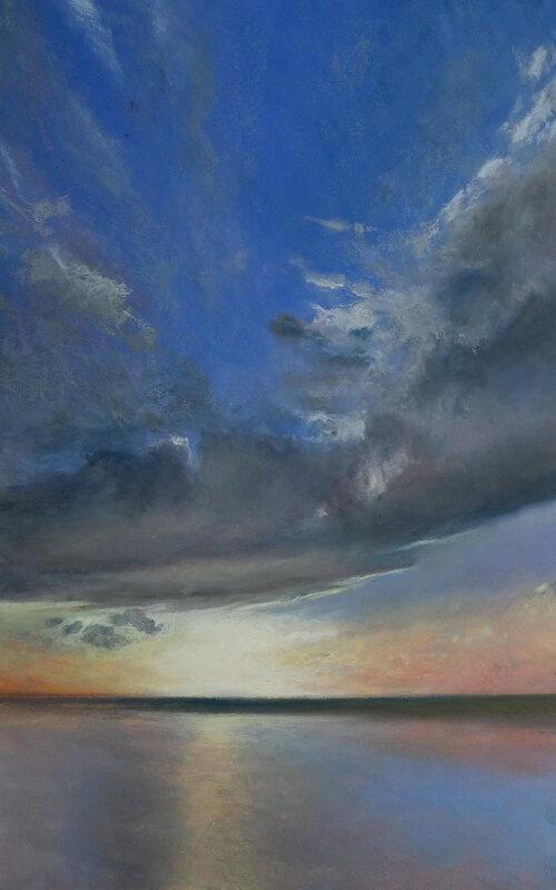 Horizon Elévation #129, pastel à l'huile, 48 x 32 cm, novembre 2020