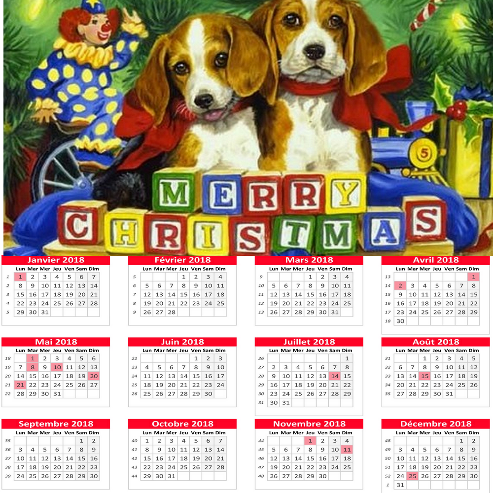 Calendrier 2018 MERRY CHRISTMAS