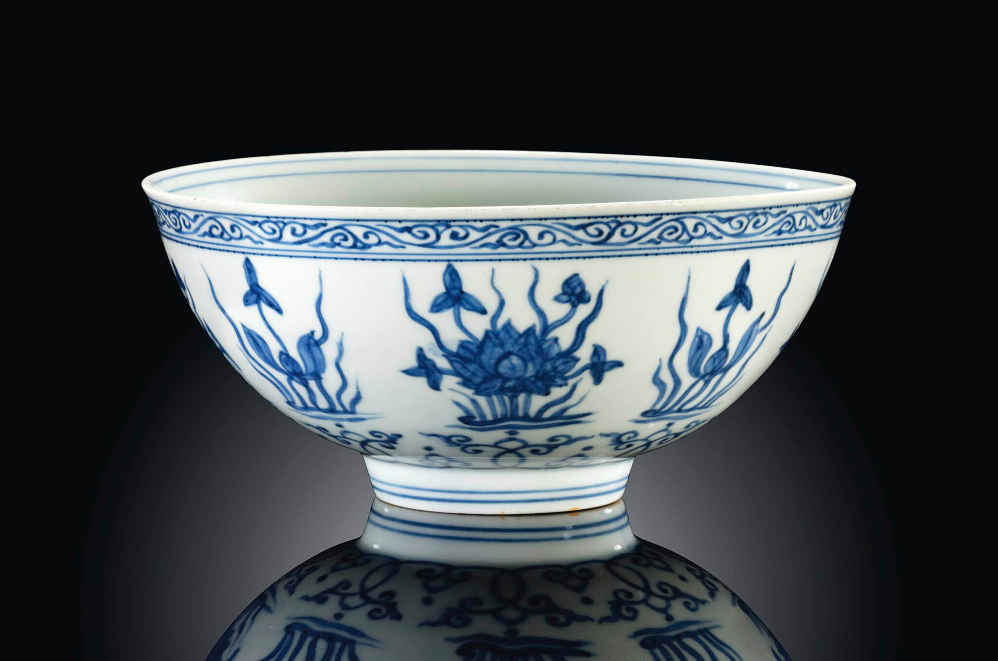 A Ming blue and white 'Lotus' Bowl, Zhengde underglaze blue four-character mark and of the period (1506-1521)