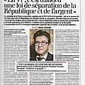 Jean-luc mélenchon « la vie république, c'est d'abord une loi de séparation de la république et de l'argent »