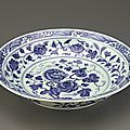 Dish with flaring rim, 1403-1424, Ming dynasty, Yongle reign. Porcelain with cobalt decoration under colorless glaze. H: 7.3 W: 37.7 cm, Jingdezhen, China. Purchase F1953.76. Freer/Sackler © 2014 Smithsonian Institution