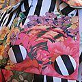 Manteau EDITH en polyester zébré imprimé fleurs et plumes de paon - Doublure de satin noir (4)