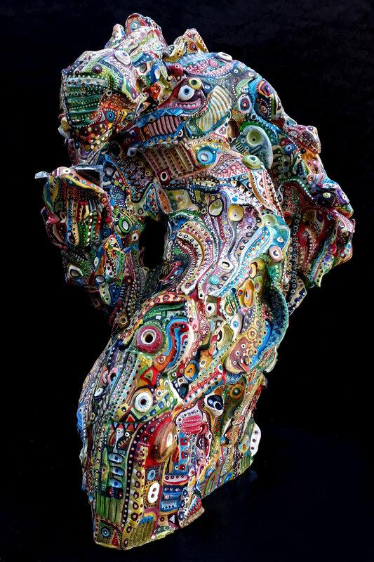 ©Hervé THAREL-SCHMIMBLOCK'S 01 mastock-man 2019 - acrylique sur argile ±32cmx17cm 4