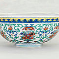 A doucai 'floral-bouquet' bowl, daoguang six-character seal mark in underglaze-blue and of the period (1821-1850)