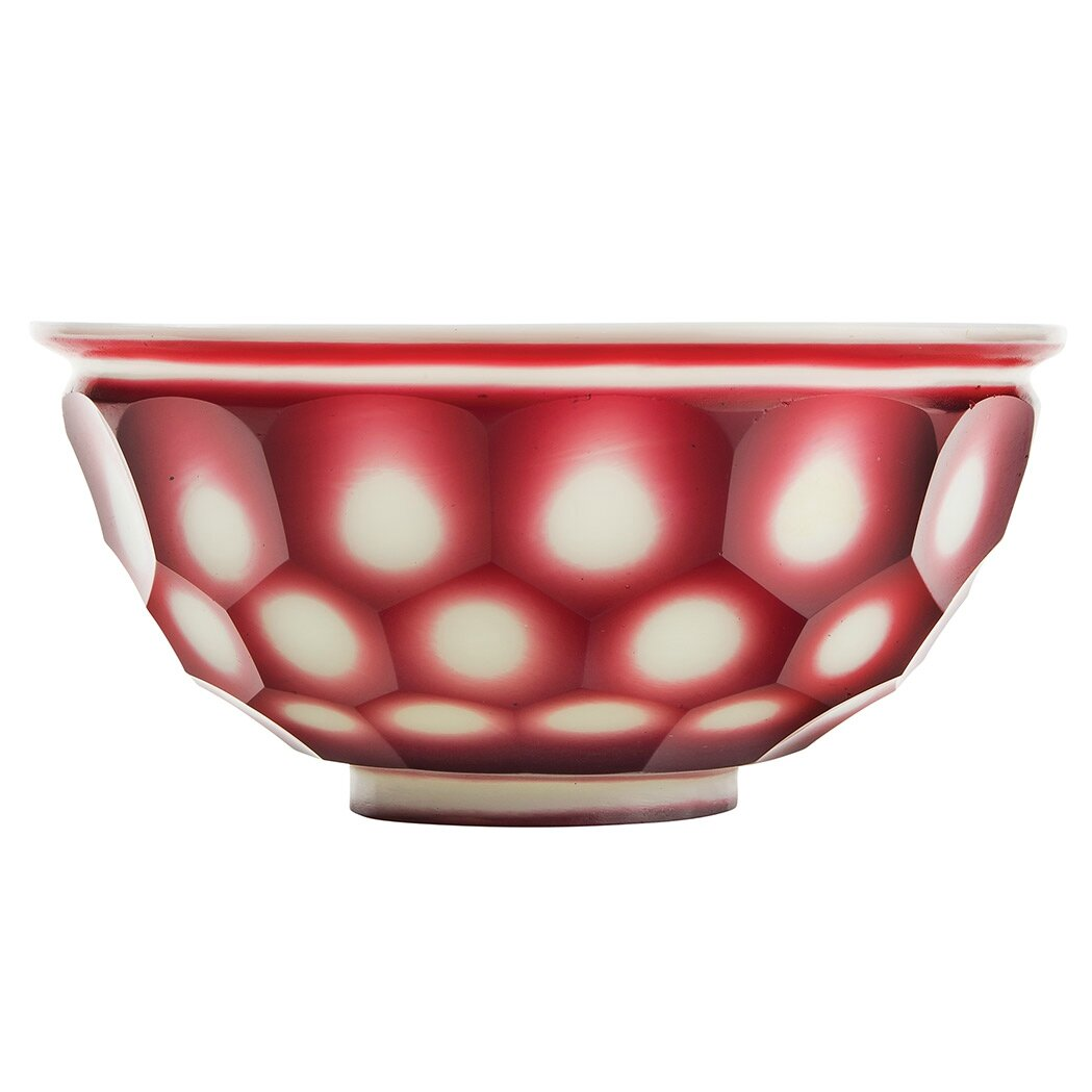 Chinese Red Overlay Glass Bowl, 19th Century