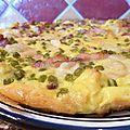 Omelette parmesan, petits pois lardons