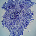 Illustration chien au stylo bic