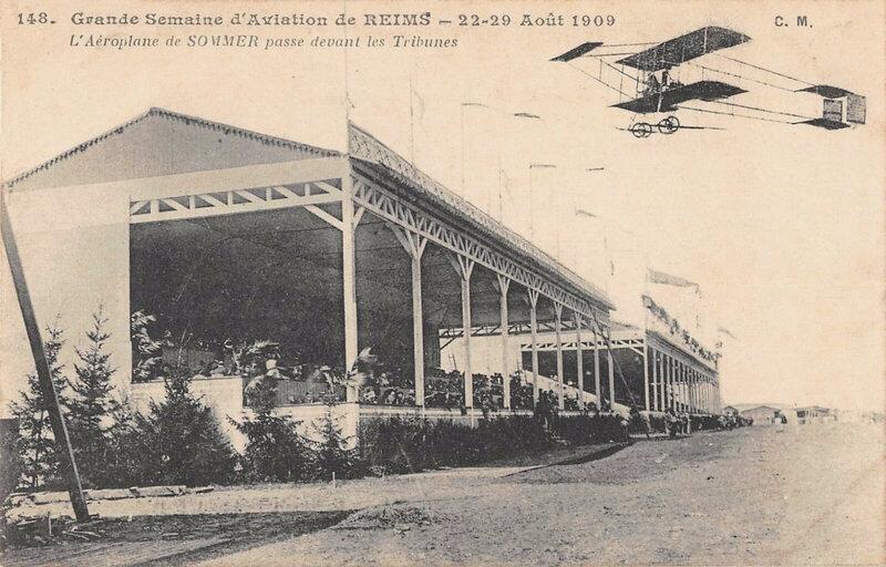 CPA Meeting de Reims Août 1909 Tribunes
