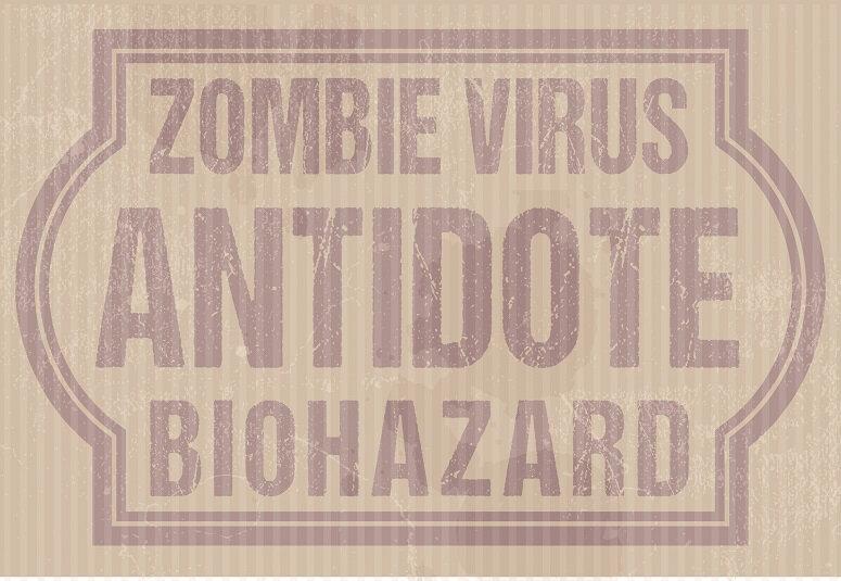 label zombie virus antidote retro +