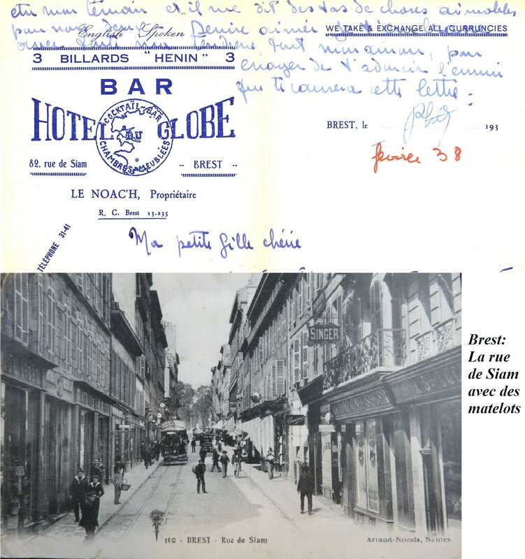 1938 02 15 Bar Hôtel du Globe 82 rue de Siam Brest