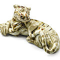 A BROWN-SPLASHED FIGURE OF A TIGER NORTHERN SONG DYNASTY