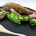 Rouget, crème d'oursin, légumes verts