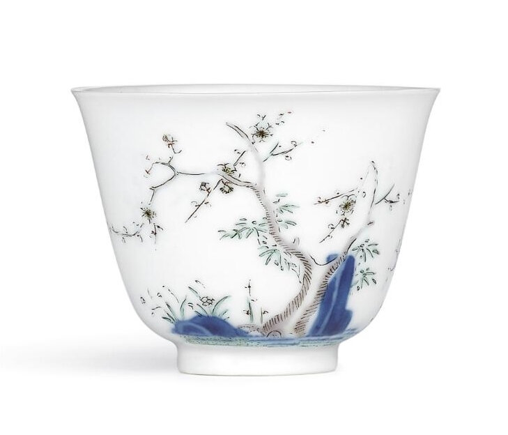 A fine and very rare wucai 'Prunus' month cup, Mark and period of Kangxi (1662-1722)