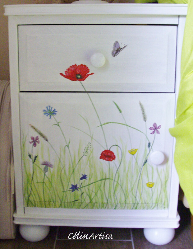 """Chevet """"Fleurs des champs & insectes"""""""