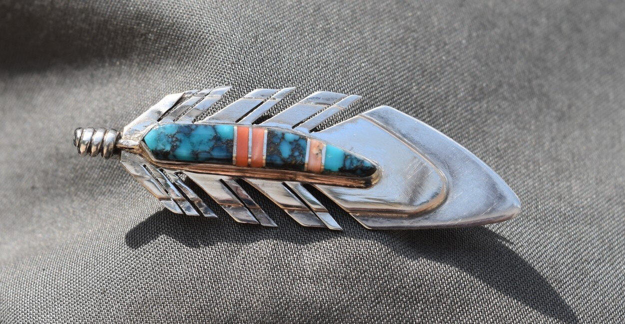 BROCHE ARGENT TURQUOISE ET CORAIL NATIVE AMERICAN BROOCH STERLING L NAVAJO