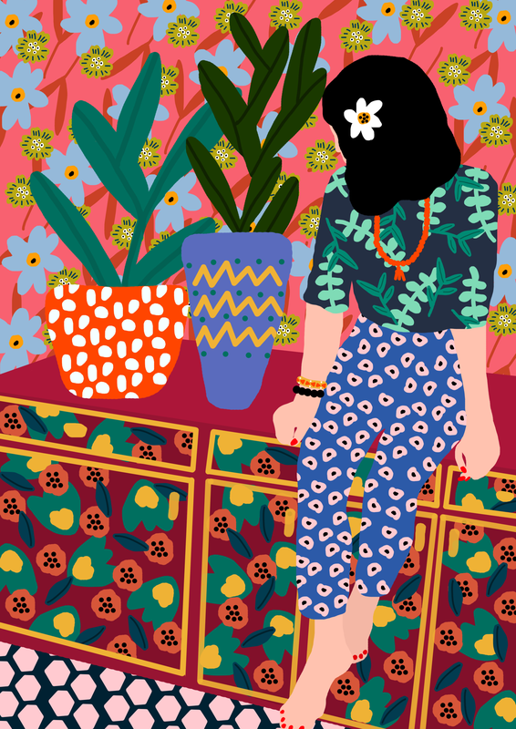 image jeune fille colorée