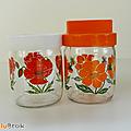 Vintage ... pots en verre style henkel 45cl * fleurs
