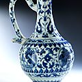 Blue and white porcelain ewer, china, late chongzheng-early shunzi period, 1628 - 1661