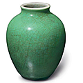 An apple-green-glazed ovoid jar, China, Qing dynasty, Kangxi period (1662-1722)