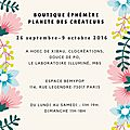 Boutique éphémère planète des créateurs 26 sept-9 oct 2016