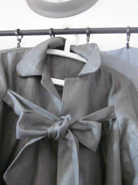 Manteau d'été en lin enduit gris ardoise (2)