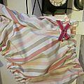 Culotte BIANCA en coton rayé rose et beige sur fonc écru - Noeud de velours rose (3)