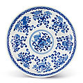 A fine blue and white 'anbaxian' dish, seal mark and period of qianlong (1736-1795)