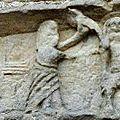 13_église St jean Mirabel_tympan XIII_détail_baptême christ