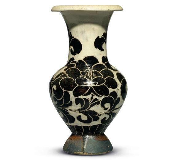 A Very Rare Carved Cizhou 'Peony' Vase, Northern Song-Jin Dynasty, 12th Century