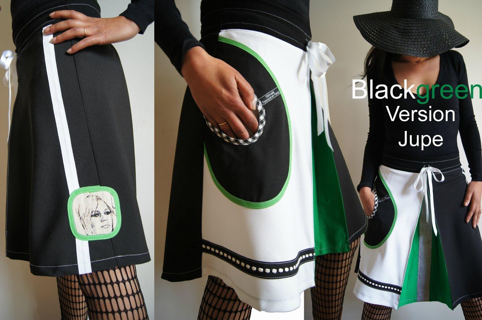 Jupe Transformable top Graphique noire/ vert/ blanc imprimé 70's