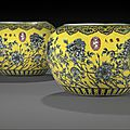 A rare pair of dayazhai yellow-ground jardinières, Guangxu-Early Republic period, 19th-20th century
