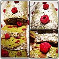 Cake au thé matcha et aux framboises de Olfa