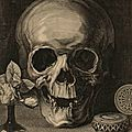 Matthieu platte-montagne, after jean morin, still life with skull, pocket watch, and roses (memento mori), mid-17th century