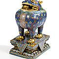 Rare brûle-parfum et socle en bronze doré et émaux cloisonnés, luduan, dynastie qing, époque qianlong (1736-1795)