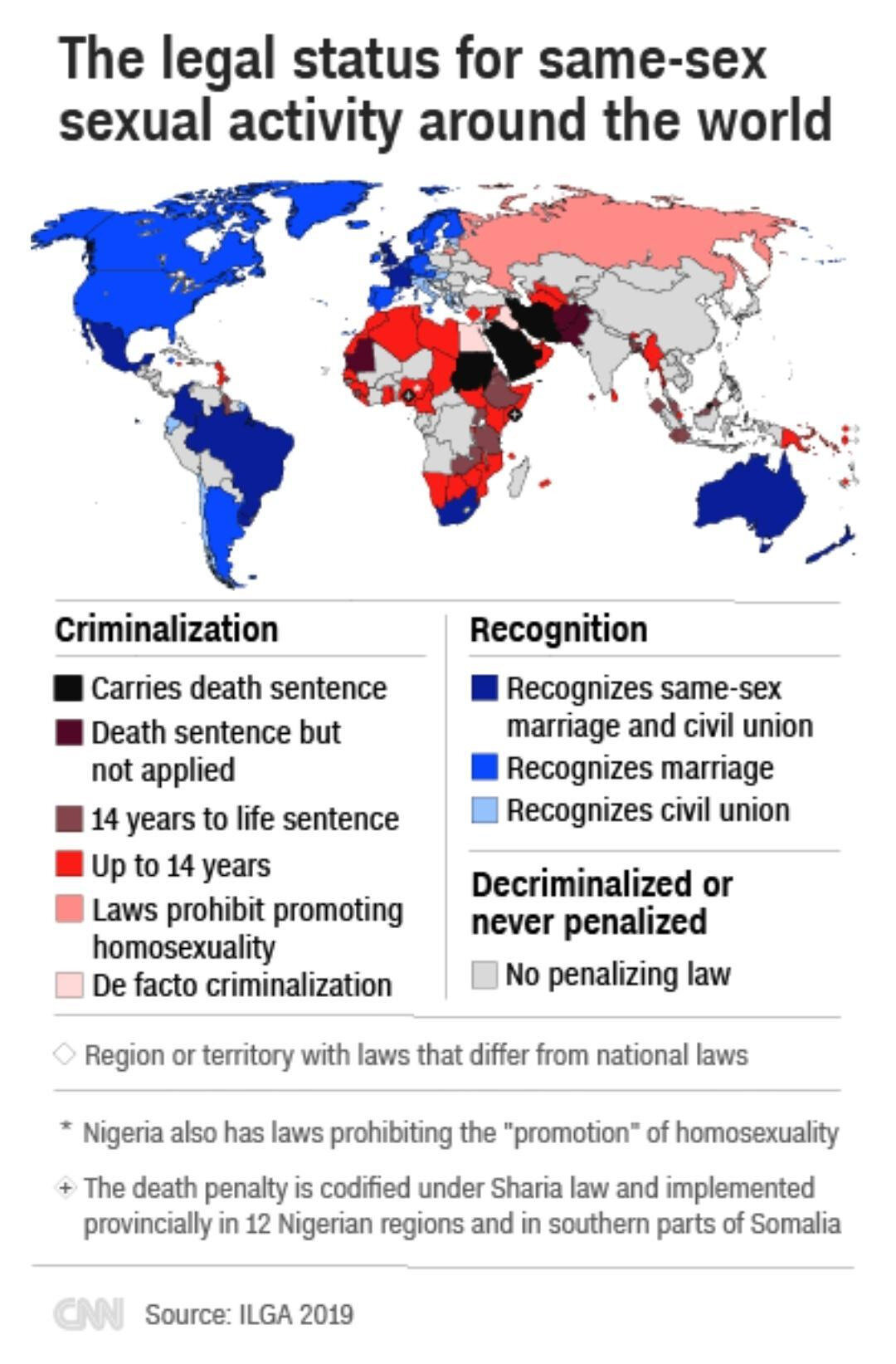 The legal status for same-sex sexual activity around the world, 2019