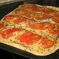 Pizza pâte mi-pain aux oignons et tomates et balade à saint malo