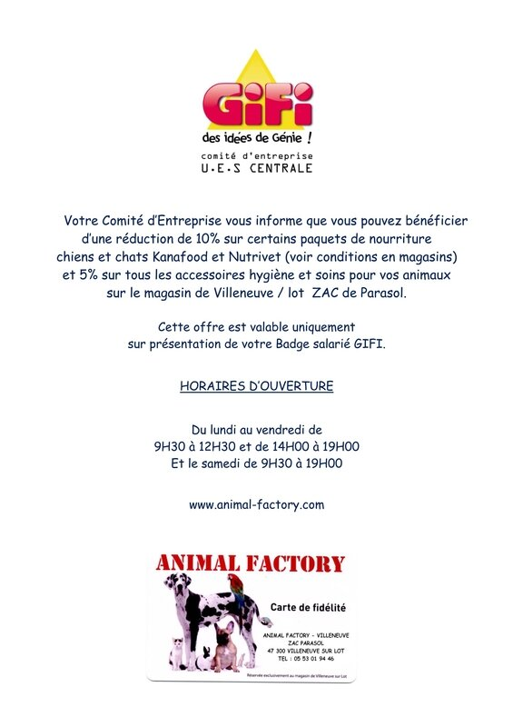 REDUCTION SALARIES GIFI - ANIMAL FACTORY - VILLENEUVE SUR LOT